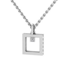 Why Jewellery Square Diamond Pendant and Chain - Silver