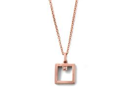 Why Jewellery Square Diamond Pendant and Chain - Rose Gold Plated