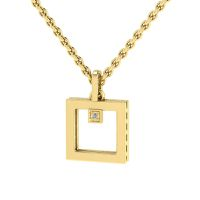 Why Jewellery Square Diamond Pendant and Chain - Yellow Gold Plated