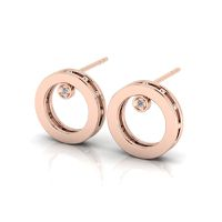 Why Jewellery Round Diamond Studs - Rose Gold Plated