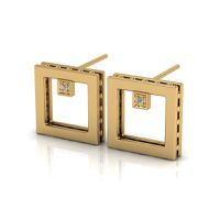 Why Jewellery Square Diamond Studs - Yellow Gold Plated
