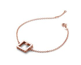 Why Jewellery Square Diamond Bracelet - Rose Gold Plated