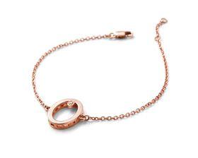 Why Jewellery Oval Diamond Bracelet - Rose Gold Plated