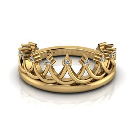 Why Jewellery Crown Diamond Ring - Yellow Gold Plated