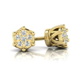 Why Jewellery Crown Diamond Studs - Yellow Gold Plated