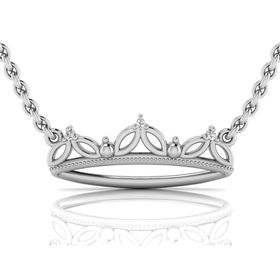 Why Jewellery Crown Diamond Pendant and Chain - Silver