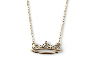 Why Jewellery Crown Diamond Pendant and Chain - Yellow Gold Plated