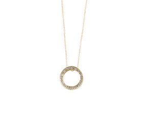 Why Jewellery Halo Diamond Pendant - Yellow Gold Plated