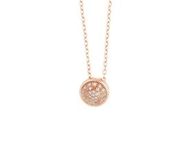 Why Jewellery Halo Diamond Pendant and Chain - Rose Gold Plated