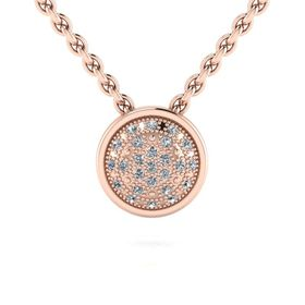 Why Jewellery Halo Diamond Pendant And Chain Rose Gold Plated