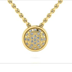 Why Jewellery Halo Diamond Pendant and Chain - Yellow Gold Plated