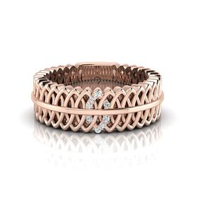 Why Jewellery Geometric Diamond Ring - Rose Gold Plated
