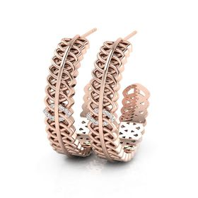 Why Jewellery Geometric Diamond Hoop Earrings - Rose Gold Plated
