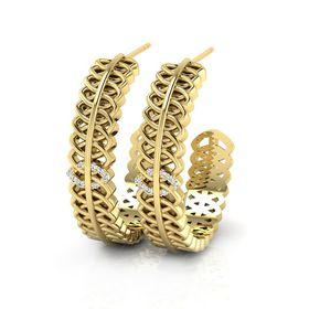 Why Jewellery Geometric Diamond Hoop Earrings - Yellow Gold Plated
