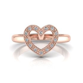 Why Jewellery Heart Diamond Ring - Rose Gold Plated