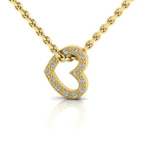 Why Jewellery Heart Diamond Pendant and Chain - Yellow Gold Plated