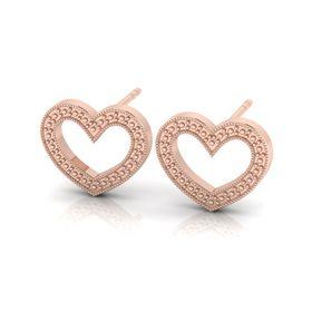 Why Jewellery Heart Studs - Rose Gold Plated