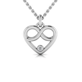 Why Jewellery Infinity Heart Diamond Pendant and Chain - Silver
