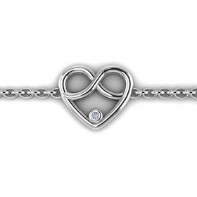 Why Jewellery Infinity Heart Diamond Bracelet - Silver
