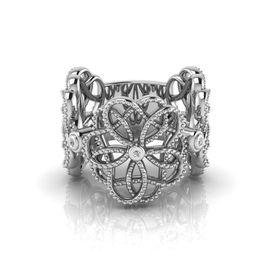 Why Jewellery Floral Diamond Ring - Silver