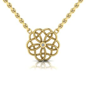 Why Jewellery Floral Diamond Pendant and Chain - Yellow Gold Plated