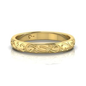 Why Jewellery Engraved Band - Yellow Gold Plated  (Ring Size: N)