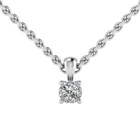 Why Jewellery Solitaire Diamond Pendant and Chain - Silver