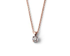 Why Jewellery Solitaire Diamond Pendant and Chain - Rose Gold Plated