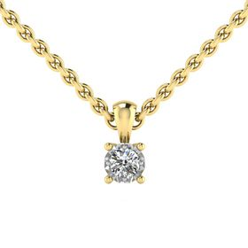 Why Jewellery Solitaire Diamond Pendant and Chain - Yellow Gold Plated