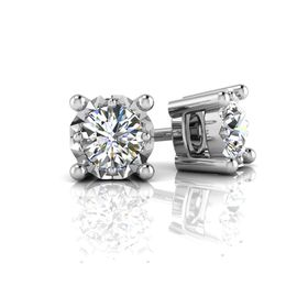 Why Jewellery Solitaire Diamond Stud Earrings - Silver