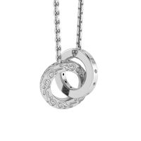 Why Jewellery Double Circle of Life Diamond Pendant and Chain - Silver
