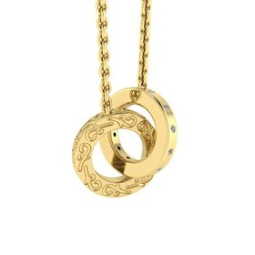 Why Jewellery Double Circle of Life Diamond Pendant and Chain - Yellow Gold Plated