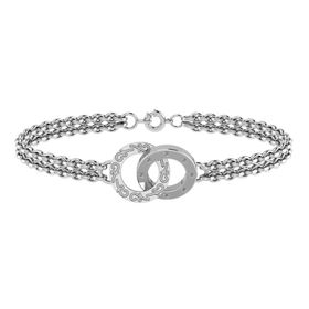 Why Jewellery Double Circle of Life Diamond Bracelet - Silver