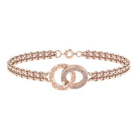 Why Jewellery Double Circle of Life Diamond Bracelet - Rose Gold Plated