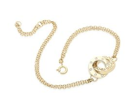 Why Jewellery Double Circle of Life Diamond Bracelet - Yellow Gold Plated