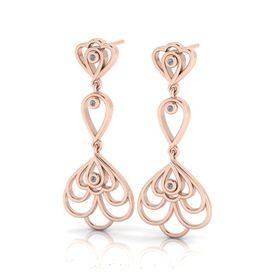 Why Jewellery Floral Diamond Chandelier Earrings - Rose Gold Plated