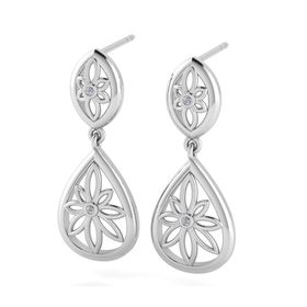 Why Jewellery Teardrop Floral Diamond Chandelier Earrings - Silver