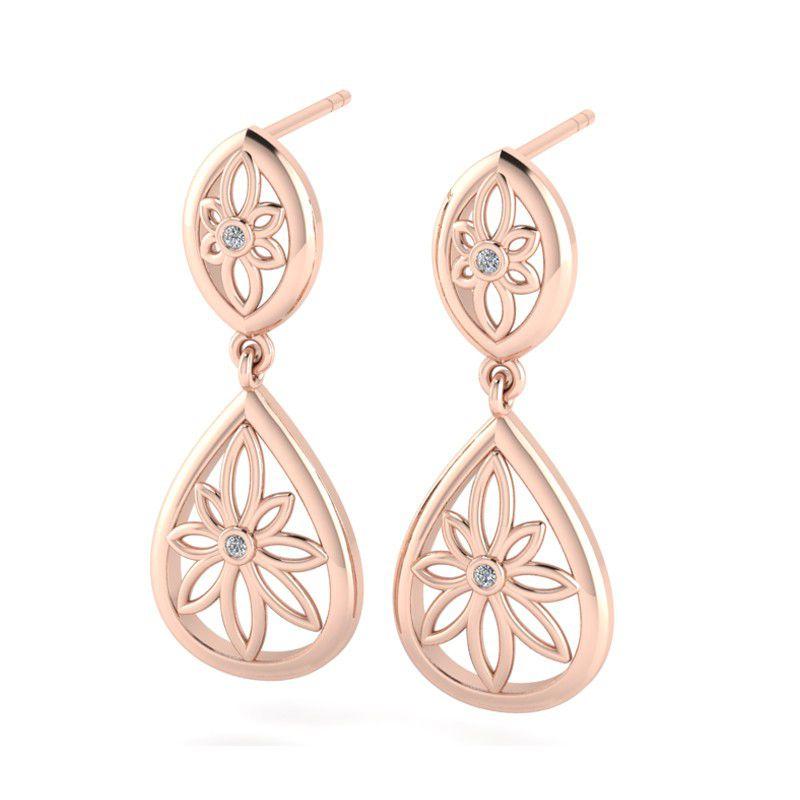 Why Jewellery Teardrop Fl Diamond Chandelier Earrings Rose Gold Plated Loading Zoom