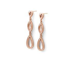 Why Jewellery Triple Tear Diamond Chandelier Earrings - Rose Gold Plated