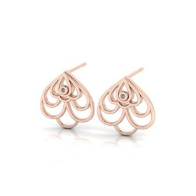 Why Jewellery Floral Diamond Stud Earrings - Rose Gold Plated