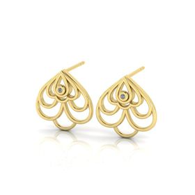 Why Jewellery Floral Diamond Stud Earrings - Yellow Gold Plated