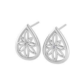 Why Jewellery Teardrop Floral Diamond Stud Earrings - Silver