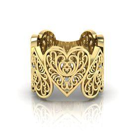 Why Jewellery Filigree Diamond Ring - Yellow Gold Plated