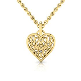 Why Jewellery Filigree Diamond Pendant and Chain - Yellow Gold Plated