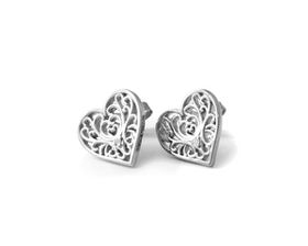 Why Jewellery Filigree Diamond Stud Earrings - Silver