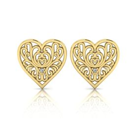 Why Jewellery Filigree Diamond Stud Earrings Yellow Gold Plated