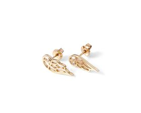 Why Jewellery Wings Diamond Stud Earrings - Yellow Gold Plated