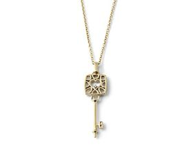 Why Jewellery Key Diamond Pendant and Chain - Yellow Gold Plated