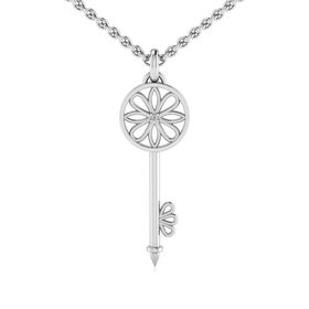 Why Jewellery Key Diamond Pendant and Chain - Silver