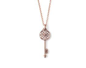 Why Jewellery Key Diamond Pendant and Chain - Rose Gold Plated